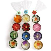 Scented t-lites, flowers pack of 4, assorted