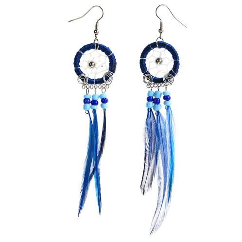 Dreamcatcher earrings, blue
