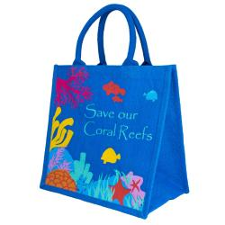 Jute shopping bag, save our coral reefs