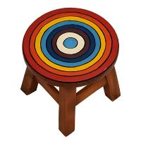Child's wooden stool, rainbow