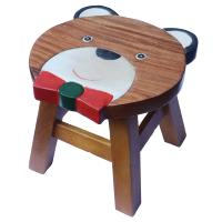 Child's wooden stool, bear