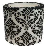 Candle pineapple damask black + white, 10cm recessed