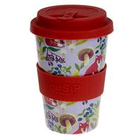 Rice husk travel cup 14oz, fox and mushroom