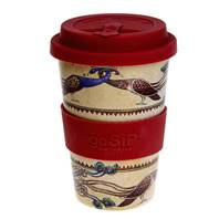 Reusable travel cup, biodegradable, Lindisfarne peafowl