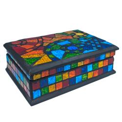 Jewellery box, rainbow mosaic 18x13x7cm