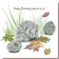 Greetings card, happy birthday hedgehogs