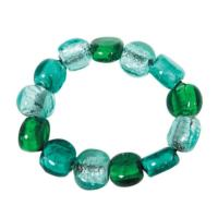 Green and blue glass beads bracelet