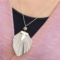 Necklace, feather style leather