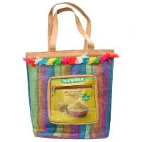 Bag recycled plastic, yellow pouch and stripes
