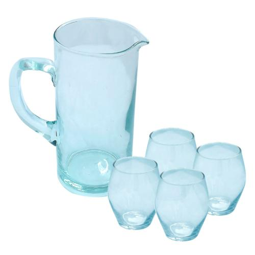 Jug + 4 tumblers, recycled glass