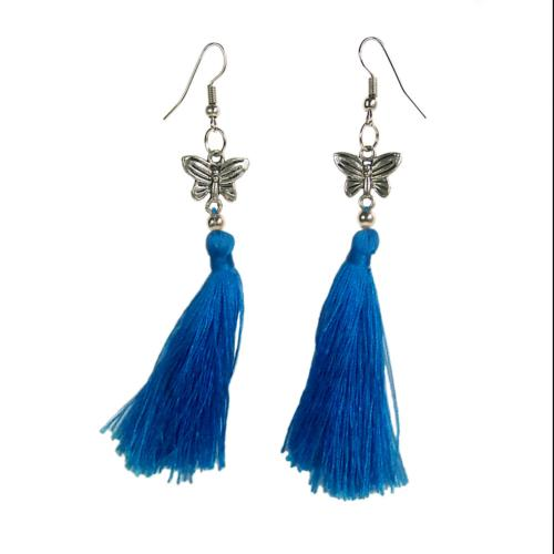 Earrings with tassel, butterfly, turquoise