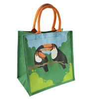 Jute shopping bag, toucan