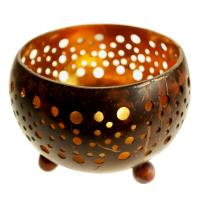 Coconut bowl gold colour lacquer inner 10x7cm