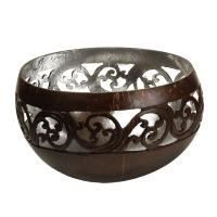 Coconut bowl silver colour lacquer inner 13cm