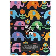 Notebook black, elephants, 11x15cm