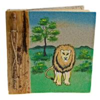Notebook, sand painting, lion