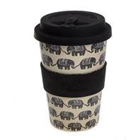 Rice husk cup 14oz, black elephant