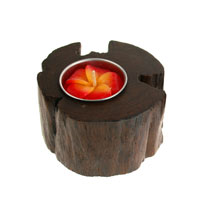 T-lite holder, teak root recycled