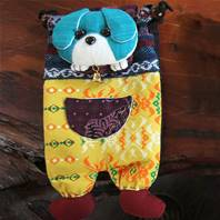 Shoulder purse, fabric, dog assorted colours 13 x 23cm