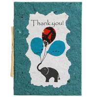 Thank you card, elephant, blue-green