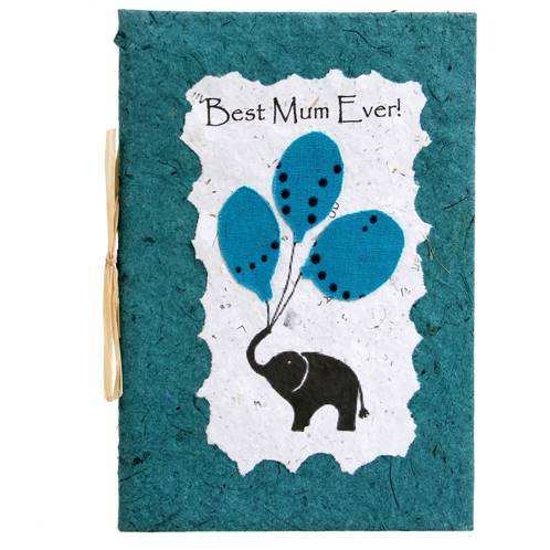 "Card ""Best Mum ever"", elephant, green"