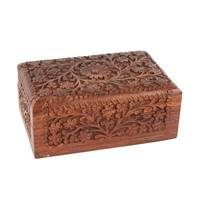 Wooden box carved all over