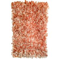 Fluffy recycled rug, pink & orange