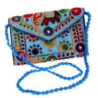 Bright beaded clutch bag, blue