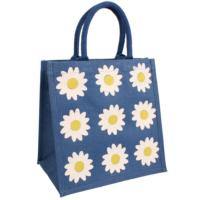 Jute shopping bag, blue with large daisies