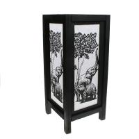 Handpainted paper screen, bamboo, elephants