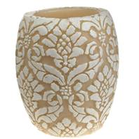 Candle pineapple damask white + ivory, 10cm hurricane
