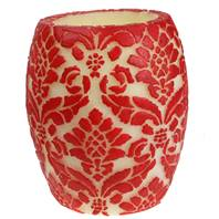 Candle pineapple damask red + white, 10cm hurricane
