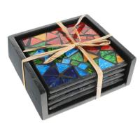 Set of 4 rainbow mosaic coasters in holder