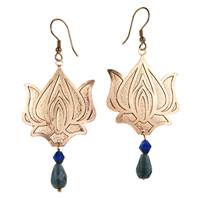 Earrings, rose gold coloured lotus. 2 hanging blue beads