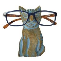 Spectacle stand, mango wood, cat blue