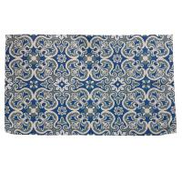 Rug made from recycled plastic 60 x 100cm blue floral