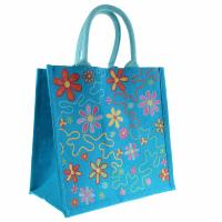 Jute shopping bag, flowers on blue