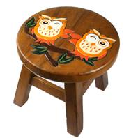 Child's wooden stool, owls on branch