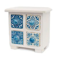 Wooden mini chest blue & white, 4 ceramic drawers