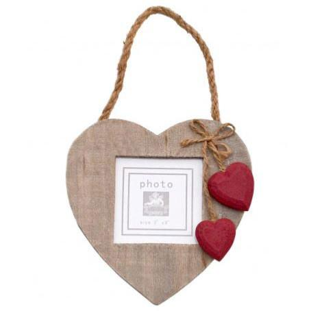 Hanging heart frame with 2 red hearts