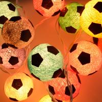 String lights, cotton football x 20, assorted colours