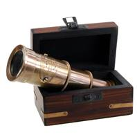 Small brass telescope in box