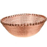 Bike chain and wire bowl, copper colour, 24cm