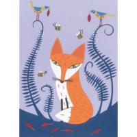 Illustrated greetings card fox 17x12.5cm