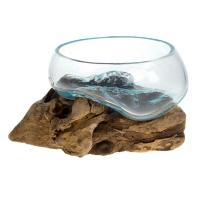 Shaped bowl on wood, recycled glass 12-15cm ht