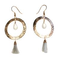 Earrings, rose coloured gold, circle with bead & white tassel