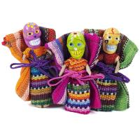 Worry doll skull with bag, single