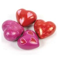 Painted Kissii soapstone heart 2cm asst pack of 20