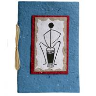 Greetings card, drummer, blue