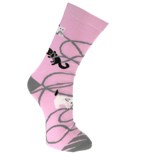 Bamboo socks, kittens pink, Shoe size: UK 7-11, Euro 41-47
